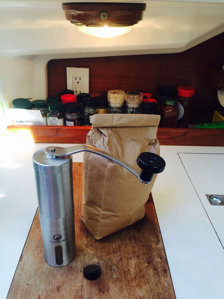 The ecogrinder. Coffee beans from La Prima!!! We accept donations of Pittsburgh coffee.